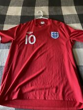 Umbro England Wayne Rooney Soccer Red Jersey Size 46 World cup 2010 South Africa