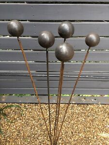 Garden Steel Metal Ball Sculpture 5 Stems