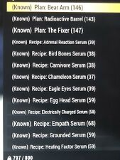 fallout 76 ps4 Serum Recipes Plus 3 Bonus Plans And 300 Large Holiday Gifts