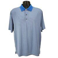FootJoy Mens Size M Medium Polo Golf Shirt Blue White Stripe Short Sleeve EUC