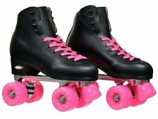 Epic Skates Classic Black High-Top Quad Roller Skates with Pink Wheels Size 4