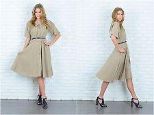 Vintage 70s 80s Beige Shirt Dress Full A Line Slouchy Draped Medium M
