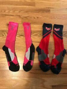 Lot 2 Boys Nike USA OLYMPIC BREAST CANCER  Dri Fit Elite Basketball Sock Youth L