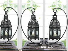 "3 black Moroccan 13"" Candle holder Lantern wedding table centerpiece With stand"