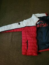 1 Mens red and white padded SUPERDRY puffa jacket with hood, size Large