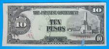 1943 Phillipines Ten Pesos JIM Japanese Invasion Money aUNC VF S2 Counterstamped