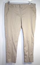 Joe Fresh Womens Sz 16 Khaki Chino Pants Beige Tapered Leg Mid Rise Stretch