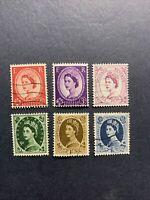 1955-57 - Great Britain ,Queen Elizabeth ,set of 6 stamps