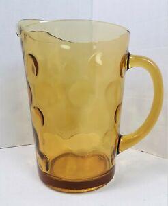 Vintage Hazel Atlas Gold Amber Thumbprint Circles Dot 64oz Glass Pitcher  721