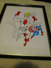 DANIEL JOHNSTON CAP CAPTAIN AMERICA color drawing ART