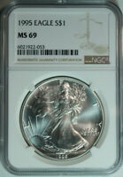 1995 Silver American Eagle Dollar / One Troy Ounce / NGC MS69
