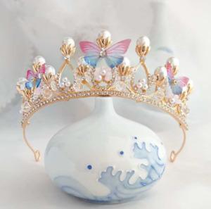 Girls Tiara Butterfly Princess Crown Gold Pearl Headband Rhinestone Hairpiece
