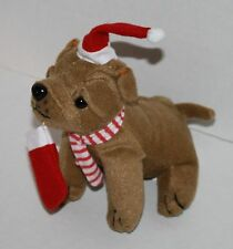 "Oriental Trading Christmas Shar Pei DOG 7"" Santa Hat Brown Plush Soft Toy 4/2568"