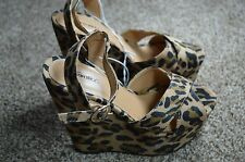 Xhilaration Womens Leopard Animal Print Wedge Heels Platform Sandals Shoes 8.5