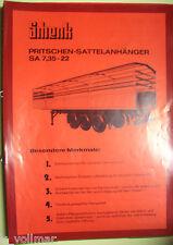 ventes brochures ORIGINAL prospektblatt Schenk pritschen-sattelanhänger SA7,
