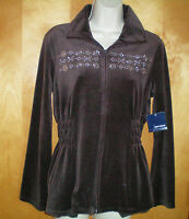 NWT NEW womens ladies size S brown velour l/s zip front jacket free shipping