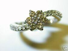 LADIES DIAMOND RING 0.75 CT  CHOCOLATE COLOR DIAMONDS 14 K WHITE GOLD