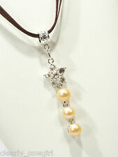 #6453 -- BROWN MULTI CORD NECKLACE SILVERTONE & CRYSTAL STAR FAUX PEARL PENDANT
