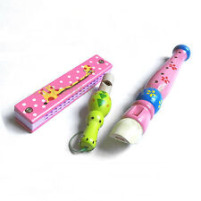 3pcs Wooden Toy Whistle Harmonica Flute Early Education Musical Instruments Kit