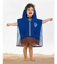 Children Kids BLUE Paw Patrol Chase Pups Hooded Beach Pool Poncho Towel