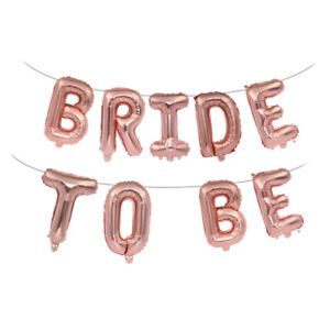 16 inch 9pcs Rose Gold Bride To Be Hanging Letter Foil Balloon Hen Party DecZCCA