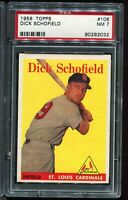 1958 Topps Baseball #106 DICK SCHOFIELD St Louis Cardinals PSA 7 NM