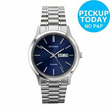 Sekonda Mens Blue Dial Day and Date Watch - Stainless Steel Model 1073.27
