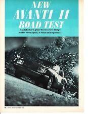 1966 STUDEBAKER AVANTI II 327/300 HP ~ ORIGINAL 6-PAGE ROAD TEST / ARTICLE / AD