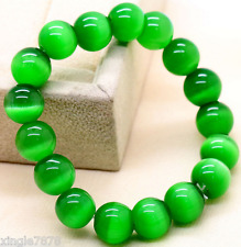 Natural 8mm Green Cat' Eye Stone Round Gemstone Beads Stretchy Bracelet 7.5''