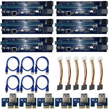 6 Pack PCI-E  1X TO 16X GPU Mining Extender Riser Multi-interface Adapter W/ LED