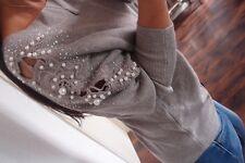 Strick Pullover Neu 42 44 Grau Trend Perlen Musthave Glitzer Pulli Chic XL A1