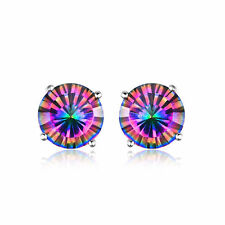 8mm 3.8ct Genuine Round Mystic/Rainbow Topaz and Sterling Silver Stud Earrings