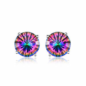 8mm 5ct Genuine Round Mystic Rainbow Topaz and Sterling Silver Stud Earrings