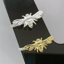 925 Sterling Silver Bee Ring Gold Wings Silver Wings 3D Solid Silver Gift Box