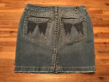 FREE PEOPLE Angel Wings Embroidered Back Pockets ~ Denim Jean Skirt ~ SIZE 27