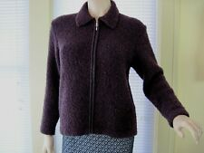 Talbots Wool Blend Cardigan Sweater Boucle made in Italy Size PS Burgundy EUC