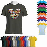Mickey Mouse Head Silhouette Disney Characters-Men, Women, Unisex T-Shirt-5MMAC1