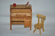 1:12 WOOD Working ROLL TOP DESK & CHAIR pull out desk APPLE BOOK Doll Furniture