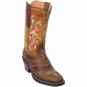 Women's Quincy Genuine Leather Western Cowgirl Boots Square Toe Rubber Sole