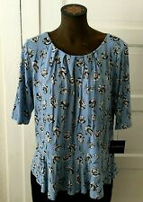 3e92fab1d9455f Liz Claiborne Career Women s Shirt Blouse Size XXL Blue Floral Short Sleeves