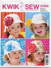 KWIK SEW SEWING PATTERN 3989 BABY/TODDLERS TOPSTITCHED LINED HATS W/ CHIN STRAPS