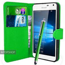Verde Funda Tipo Cartera Cuero Artificial libro para Nokia / Microsoft Lumia 650