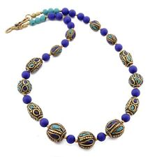 "Turquoise Lapis Brass Necklace 17"" Tibetan Nepalese Ethnic Handmade Nepal N2448"