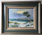 Beach Palm Trees Seascape Oil Painting Vintage Signed Granger Heavy Palette