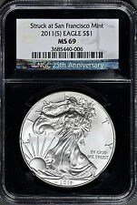 2011 American Silver Eagle Struck at San Francisco Mint NGC MS 69 must see!