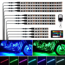 12Pcs LED Neon Under Glow Light Strip Kit Multi-color Motorcycles Remote Control