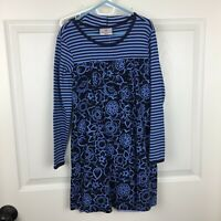 Hanna Andersson Blue Striped Floral Cotton Knit Dress Outfit - Girls 120 US 6-7