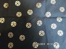 "Black & Gold Pentagram Scarf Pagan Wicca Earth Wind Fire Air Spirit 36"" x 15"""