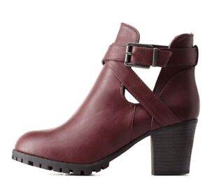 Charlotte Russe Bamboo Women's booties, Oxblood, Size 8 Faux Leather