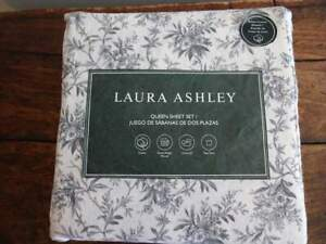 LAURA ASHLEY Faye BLACK Cream Floral TOILE FLANNEL QUEEN SHEET Set